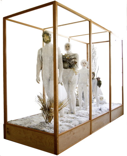 THE NUCLEAR FAMILY: Ascent of Man Diorama 12' x 8' x 4' with plexiglass